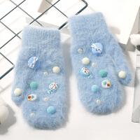 兔毛手套女冬季保暖加厚加绒学生韩版时尚骑车连指卡通可爱叮当猫 均码