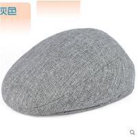 夏天中老年男士帽子韩版潮新款透气遮阳亚麻鸭舌帽户外休闲