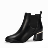 camel骆驼女鞋冬季新款 粗跟摩登时尚潮流气质低跟短筒女靴
