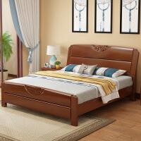 床实木床1.8米现代简约中式储物高箱床1.5M双人实用小户型婚床 +棕垫(10CM)