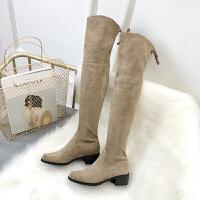 过膝长靴女平底超长筒靴高筒靴子显瘦冬季高跟过膝靴弹力靴