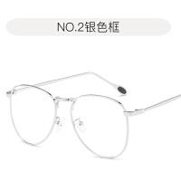 明星同款眼镜女平光镜圆框防蓝光男大框眼睛女韩版潮 银色框 0度防蓝光