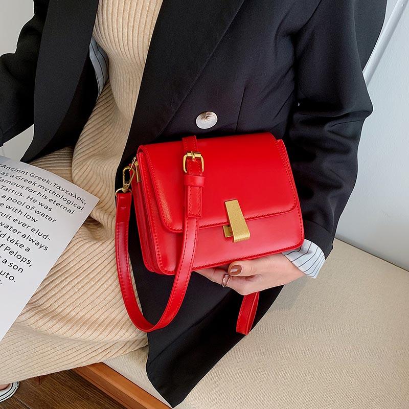 菲姿卓尔复古包包女流行新款港风时尚质感百搭单肩斜挎小方包 时尚质感百搭单肩斜挎小方包
