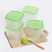 特百惠冷藏4件套果菜冷藏保鲜方盒800ml方形储藏密封盒