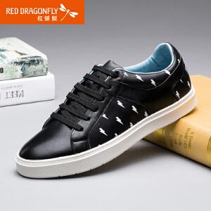 红蜻蜓男鞋 夏季新款正品日常休闲鞋时尚韩版印花系带男板鞋
