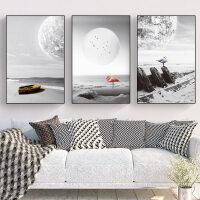 北欧客厅装饰画沙背景墙挂画现简约墙画黑白风景餐厅墙面壁画 60*90 时尚白框 水晶