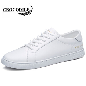 鳄鱼恤休闲鞋系带休闲皮鞋真皮百搭鞋子小白鞋舒适男鞋
