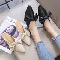 女士原宿风穆勒鞋时尚百搭粗跟女单鞋 韩版尖头包头半拖鞋 外穿新款拖鞋女