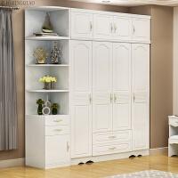 白色简约现代经济型板式衣柜 韩欧式田园整体卧室木质四门大衣橱 +角柜+小角柜 (B款)