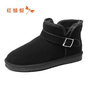 红蜻蜓男鞋2017冬季新品时尚潮流休闲高帮棉鞋舒适加绒雪地鞋男