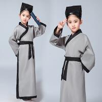 新款国学服男童小书生古装儿童汉服小药童书童演出服儿童摄影服装 灰色 灰色斜纹