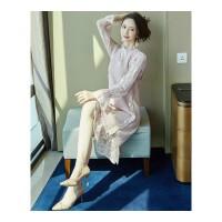 法式复古连衣裙女秋冬季2018新款蕾丝过膝毛衣裙子两件套装洋气潮 粉色