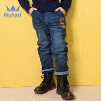 水孩儿souhait童装男童牛仔裤冬装新款儿童厚款保暖裤长裤子时尚双层牛仔裤AMD0845565