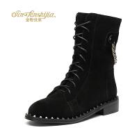 金粉世家 红蜻蜓旗下 冬季新款真皮中筒靴平底女靴圆头马丁靴子