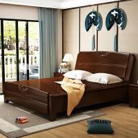 实木床1.35米1.8 1.5M双人床高箱床储物床床新中式1.2单人床 +2个床头柜