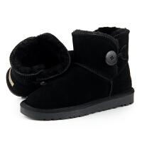 新款真牛皮纽扣雪地靴女短筒学生冬季加厚保暖一粒扣棉鞋短靴防滑 黑色(32)