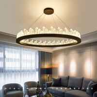客厅灯 水晶灯圆形水晶吊灯后现代北欧轻奢圆形设计师环形金属客厅餐厅创意个性灯具