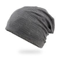 2018 秋冬帽子 女士春秋季薄款透气化疗帽子棉睡帽月子帽 夏季包头帽空调帽潮流 灰色 薄棉布内衬