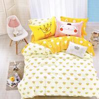 棉儿童床单四件套1.8m床公主风卡通棉1.5被套三件套1.2米床品