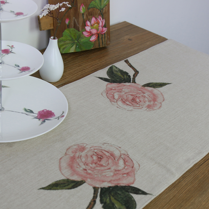 【包邮】 原创创意国画艺术衍生品 文创 绘画 棉麻桌旗 朱迪 须臾山茶
