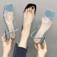 户外透明中跟女士凉鞋时尚仙女风ins潮百搭配长裙子的鞋