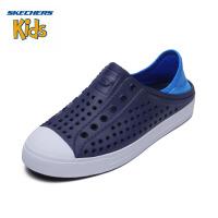 斯凯奇(Skechers)春季男童鞋透气一脚套凉鞋 轻便沙滩鞋91995L-NVBL- 藏蓝/蓝色BKRD-黑色/红色