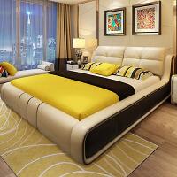床头层牛皮1.8米1.5双人婚床主卧现代简约欧式榻榻米皮床家具 +天然乳胶弹簧床垫