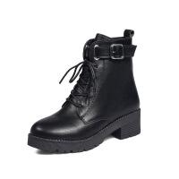 2018秋冬新款系带复古马丁靴女厚底粗跟短靴英伦风中跟机车靴子