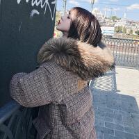 羽绒女2018冬装新款韩版大毛领中长款宽松过膝格子棉衣棉袄潮