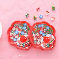 创意文具圣诞盘装盒装卡通橡皮擦学生儿童橡皮学习办公用品