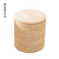 纯手工草编收纳凳子储物凳环保实木换鞋凳沙发凳可坐人整理箱 蒲草纯色 圆形 草盖