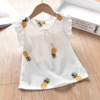 【3件2折价:38元】斯提妮女童短袖t恤2021新款夏季刺绣洋气上衣儿童装舒适上衣娃娃衫套头【支持礼品卡】