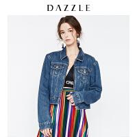 DAZZLE地素 18春专柜新款 棉质水洗拉链牛仔外套 2F1F7041S