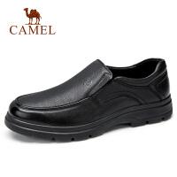Camel/骆驼秋冬新款 柔软牛皮商务休闲皮鞋软底套脚办公鞋男