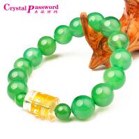 水晶密码CrystalPassWord 天然绿玛瑙白水晶六字真言手链-JXYL1Q097