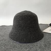 帽子秋冬羊毛呢渔夫帽羊毛呢盆帽女秋冬韩版英伦礼帽折叠针织保暖 M(56-58cm)