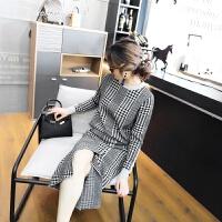 裙子春女套装学生新款女装2018韩版潮款千鸟格圆领毛衣时尚套装女 黑格子 均码
