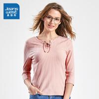 [秒杀价:35.9元,新年不打烊,仅限1.22-31]真维斯女装 2019秋装 休闲圆领纯色中袖T恤