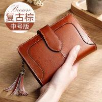 钱包女短款多功能韩版折叠皮夹子零钱包牛皮女士小钱包新款