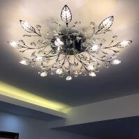 客厅灯 水晶灯圆形欧式圆形水晶灯客厅大灯现代简约led餐厅轻奢吸顶灯创意卧室灯具