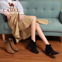【下单立减120元】camel骆驼女鞋冬季新款 时尚休闲韩版百搭短靴子女粗跟短筒女靴