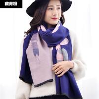 围巾女秋冬季韩版纯色大披肩两用 冬天加厚保暖仿羊绒百搭披风