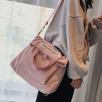 帆布包女学生韩版原宿ulzzang 高中学生双肩背包单肩斜挎手提书包 粉红色纯色版 正面一个大兜