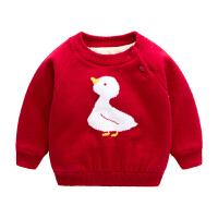 儿童毛衣秋男童加绒加厚婴儿毛线衣新生儿衣服红色女宝宝针织衫