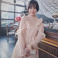 超仙蕾丝连衣裙女春装圆领修身显瘦长款百搭喇叭袖a字裙 粉色