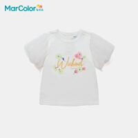 马卡乐童装2021夏季新款女童网纱纯棉宽松精致圆领短袖T恤