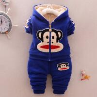 宝宝秋冬装加绒棉衣套装1-3岁2男女童加厚棉袄外套婴儿童冬季衣服 蓝色 加厚猴子