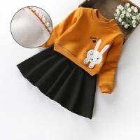 女童加绒连衣裙秋新款童装韩版长袖加绒加厚纯棉裙子儿童公主裙
