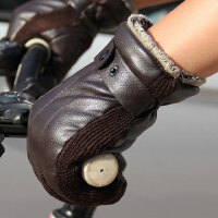 征伐 骑行手套 男士PU皮加厚抗寒保暖吸湿防潮户外骑行摩托电动车手套
