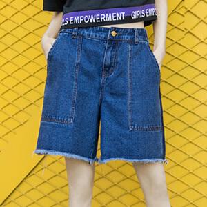 PASS牛仔短裤女夏2018新款阔腿短裤五分裤深色学生百搭裤子